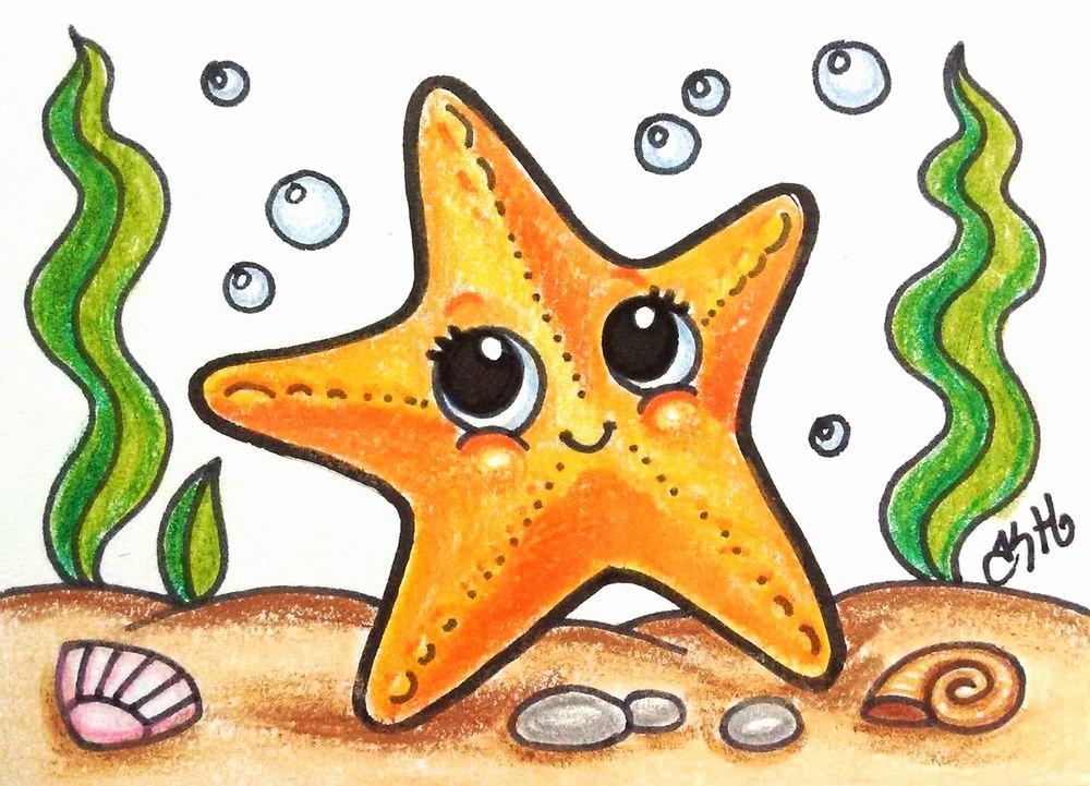 Drawings Of Sea Creatures Fresh Star Fish original Aceo Tw Jun Cartoon Drawing Water Sea Creatures Kate Holloman Aceo