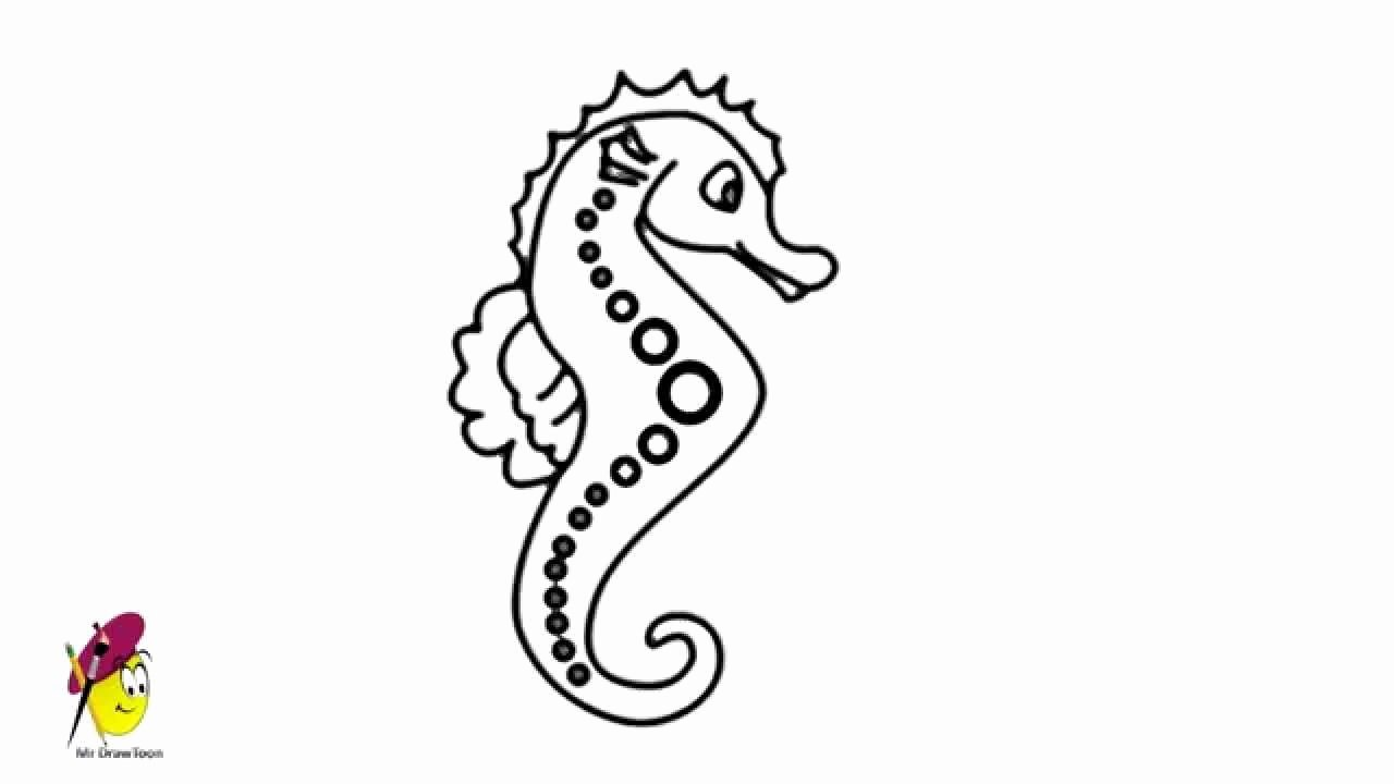 Drawings Of Sea Creatures New Sea Horse Sea Creatures Easy Drawing How to Draw A Sea Horse Hippocampe