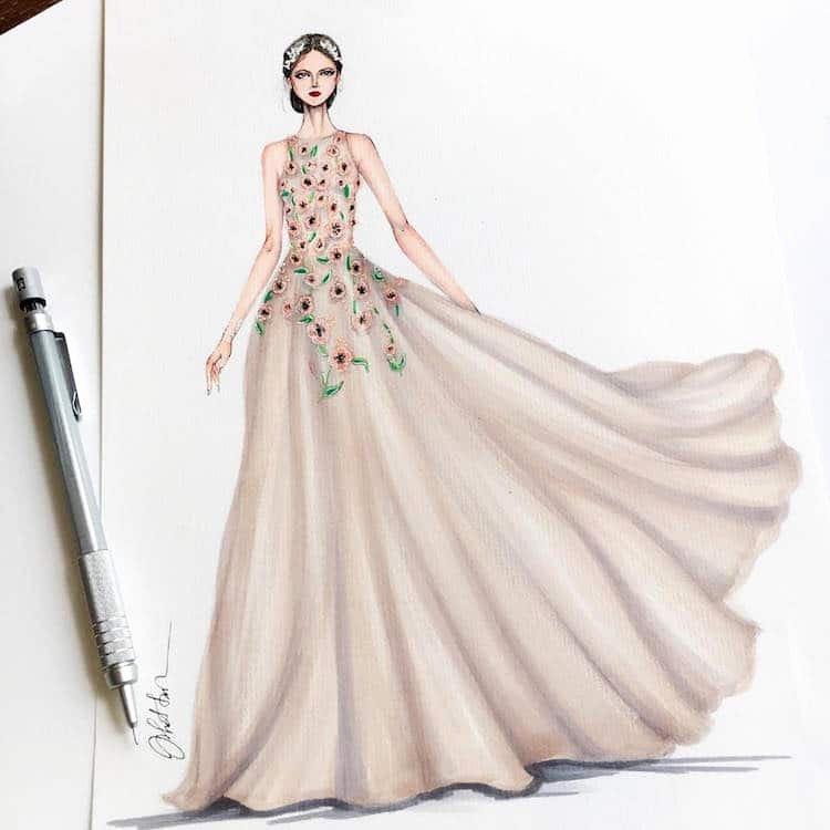 Dress Sketches for Fashion Designing Beautiful Gown Designs by Eris Tran Showcase Fashion Illustrators Skill