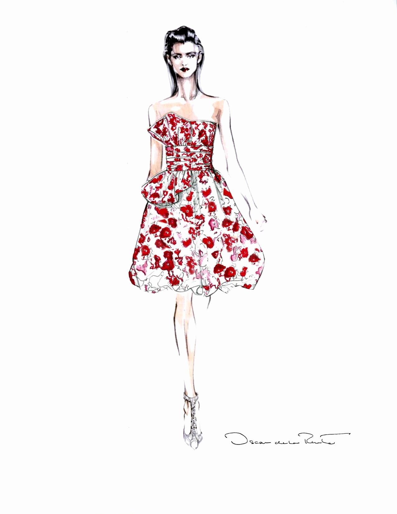 Dress Sketches for Fashion Designing Beautiful Oscar De La Renta Fashion Sketches