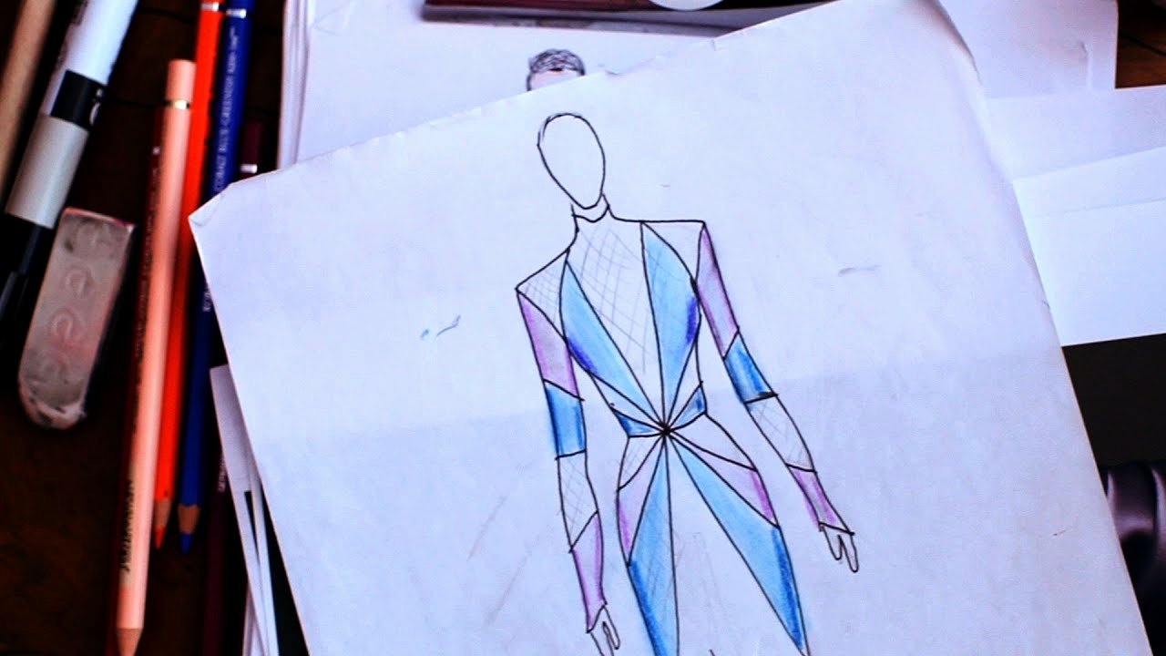 Dress Sketches for Fashion Designing Elegant How to Add Color Texture & Shadows