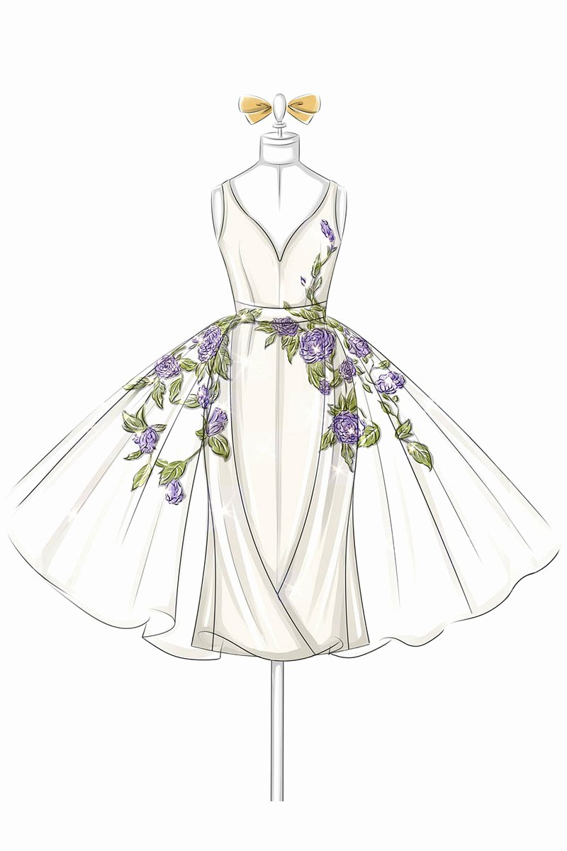 Dress Sketches for Fashion Designing Fresh Fashion Illustration Of Floral Embroidered V Neck organza Overskirt Satin Prom Dress Lunss Couture