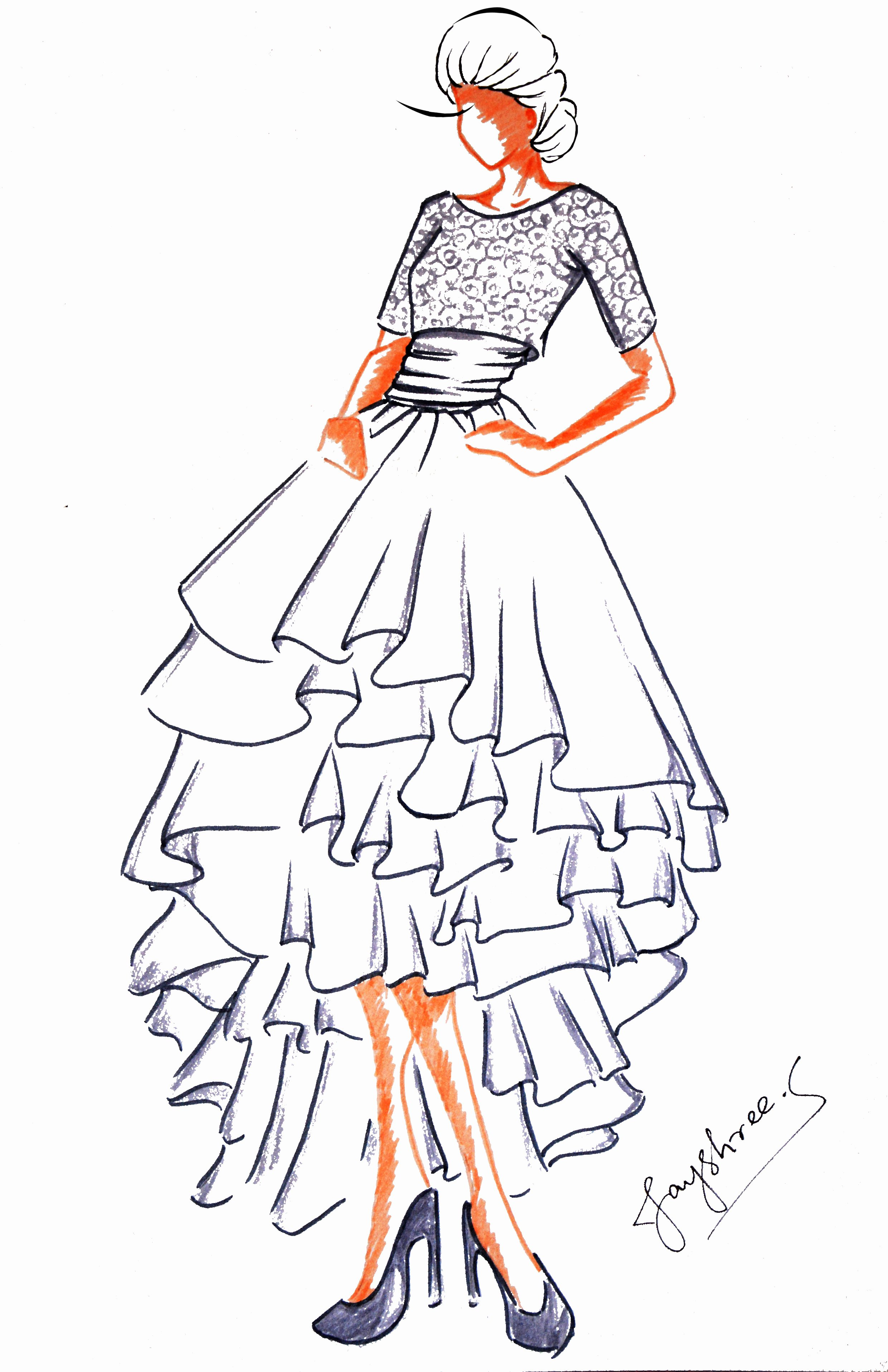 Dress Sketches for Fashion Designing Lovely Art Wardrobe – Fashion Illustrations and Other Art forms