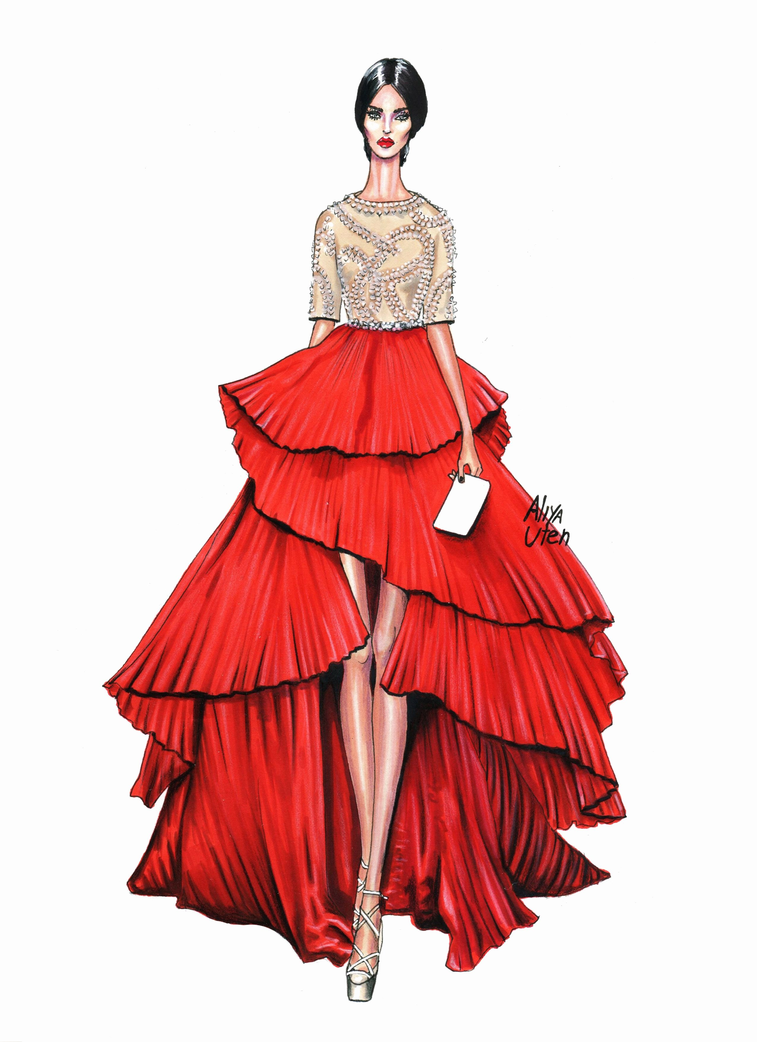 Dress Sketches for Fashion Designing Luxury Illustration ♦f&i♦ Illustration Fashion