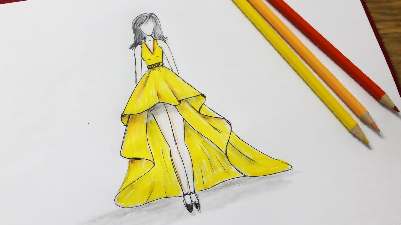 Dress Sketches for Fashion Designing New How to Draw A Dress Design Dresses Drawing Step by Step