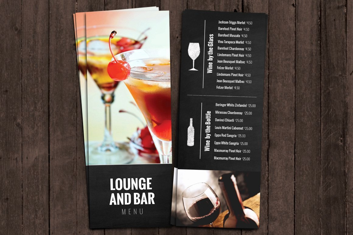 Drinks Menu Templates Free Awesome Bar and Lounge Drink Menu Brochure Templates Creative Market