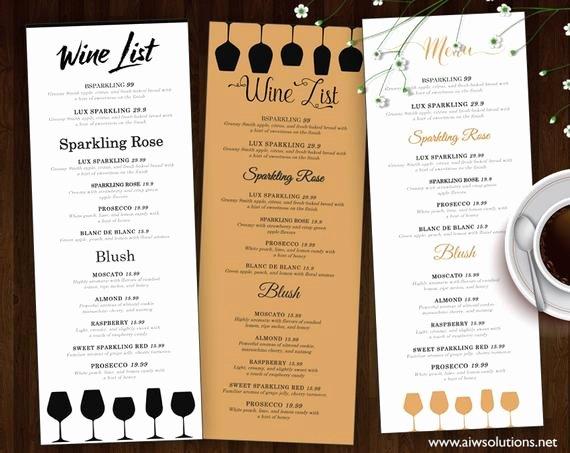 Drinks Menu Templates Free Awesome Wine List Wine Menu Template Wedding Print Drink Menu