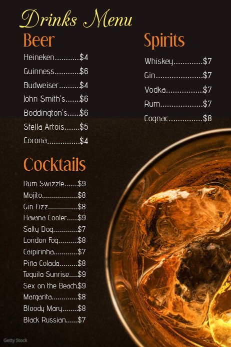 Drinks Menu Templates Free Beautiful Copy Of Drinks Menu Template