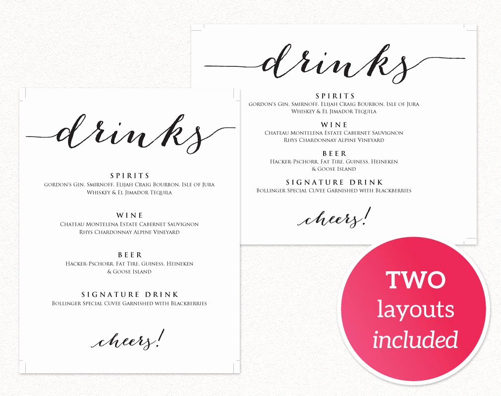 Drinks Menu Templates Free Beautiful Drinks Menu Template · Wedding Templates and Printables