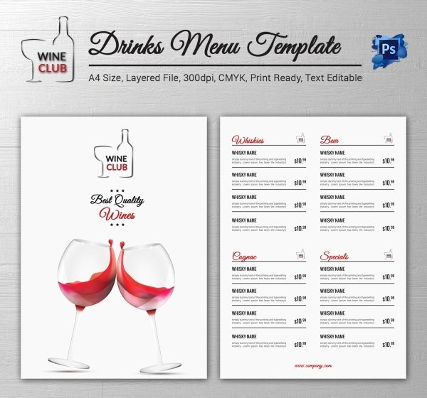 Drinks Menu Templates Free Fresh Drink Menu Template – 25 Free Psd Eps Documents Download