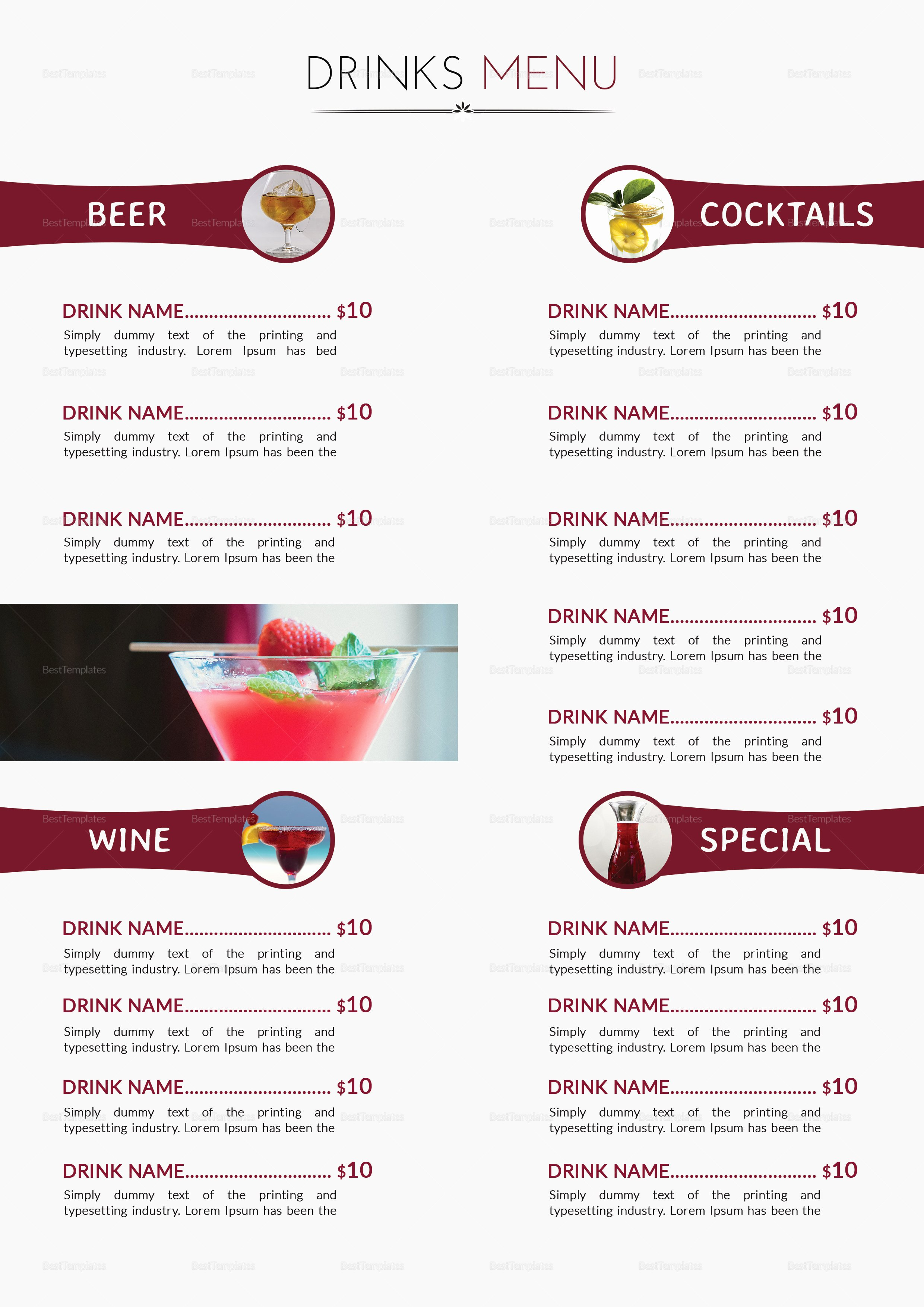 Drinks Menu Templates Free Lovely Cocktail Drinks Menu Design Template In Psd Word Publisher