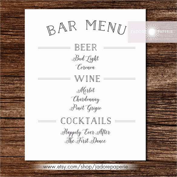 Drinks Menu Templates Free Luxury 24 Bar Menu Templates – Free Sample Example format Download