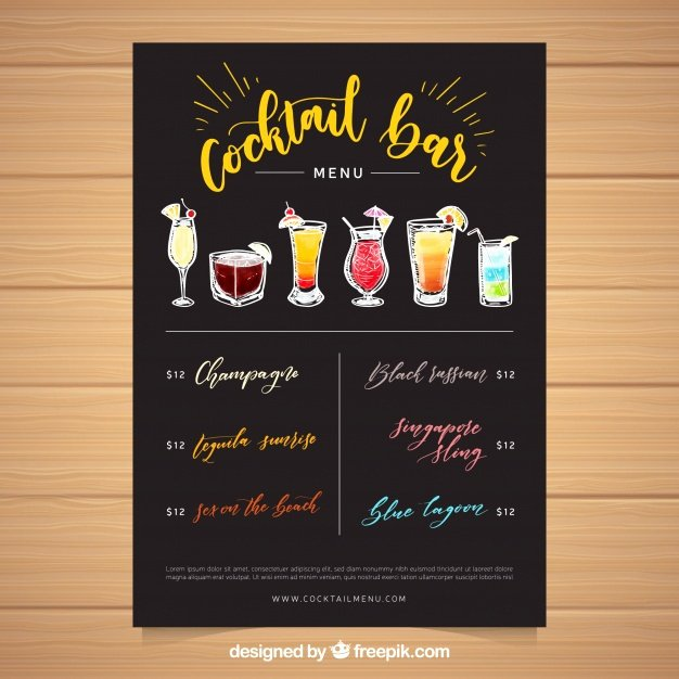 Drinks Menu Templates Free Luxury Cocktail Menu Template with Hand Drawn Drinks Vector