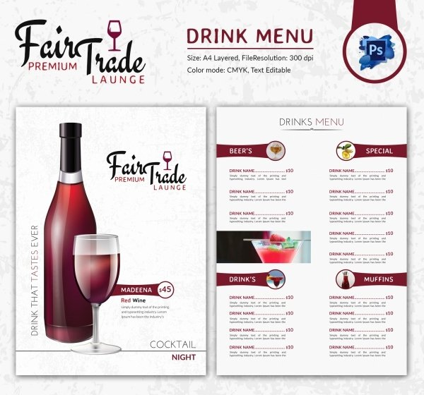 Drinks Menu Templates Free Unique Drink Menu Template – 25 Free Psd Eps Documents Download