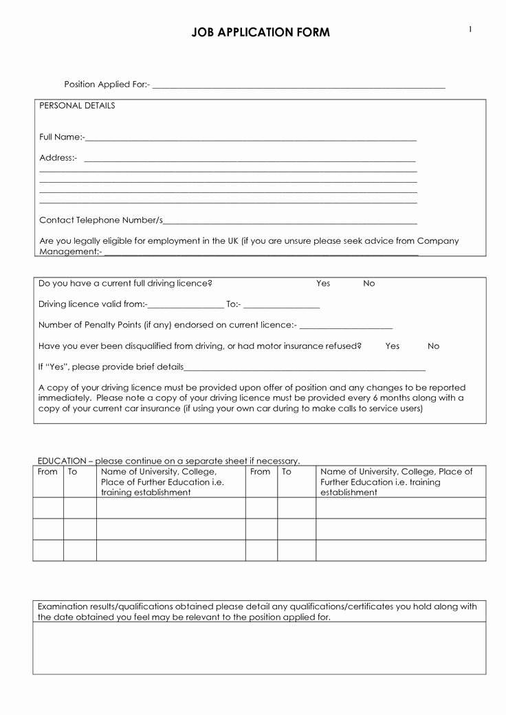 Driver Application for Employment Beautiful Job Application form Download A Free Employment Application form Template for Excel to
