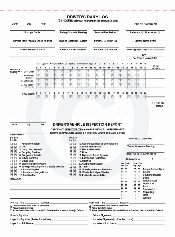 Driver Vehicle Inspection Report Template Best Of Log Books Vehicle Inspections Alberta Printers Edmonton