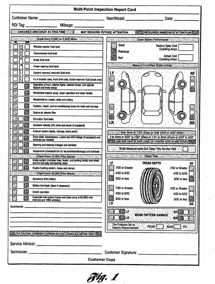 Driver Vehicle Inspection Report Template Elegant Multi Point Inspection Report Card as Re Mended by ford