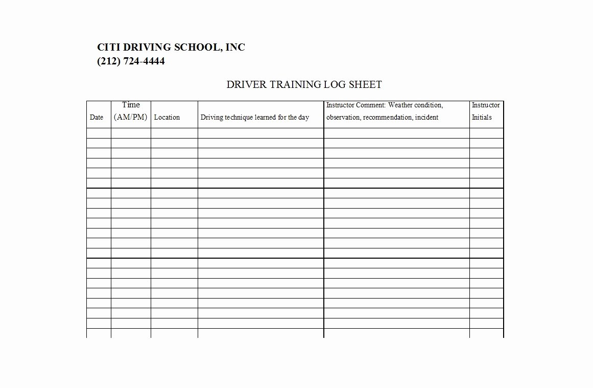 Drivers Log Sheet Template Elegant 50 Printable Driver S Daily Log Books [templates & Examples]