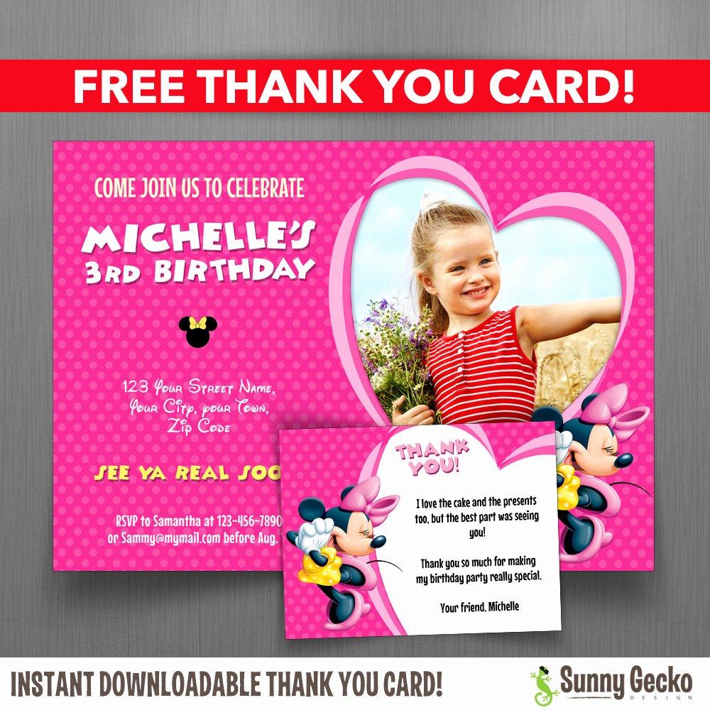Editable Minnie Mouse Birthday Invitations Awesome Minnie Mouse 7x5 In Birthday Party Invitation with Free Editable Thank You Card