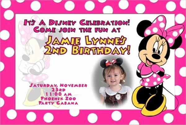 Editable Minnie Mouse Birthday Invitations Beautiful 2nd Birthday Invitation Card Template