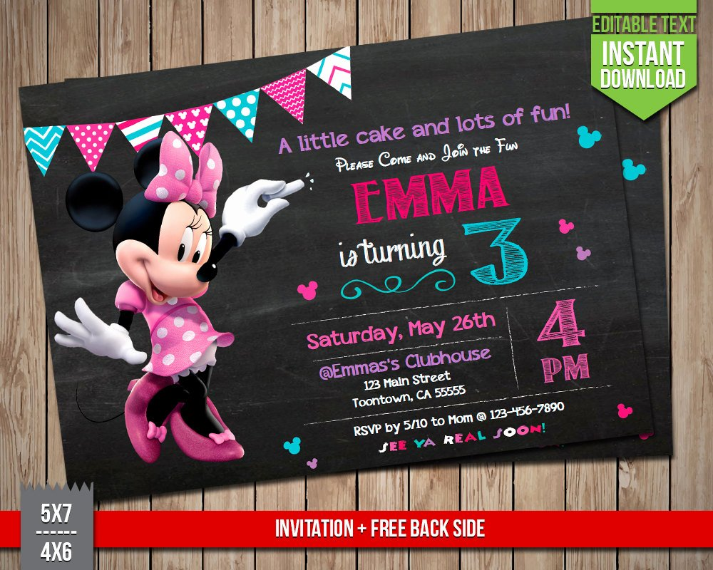 Editable Minnie Mouse Birthday Invitations Beautiful Disney Minnie Invitation Minnie Mouse Invite Editable Text