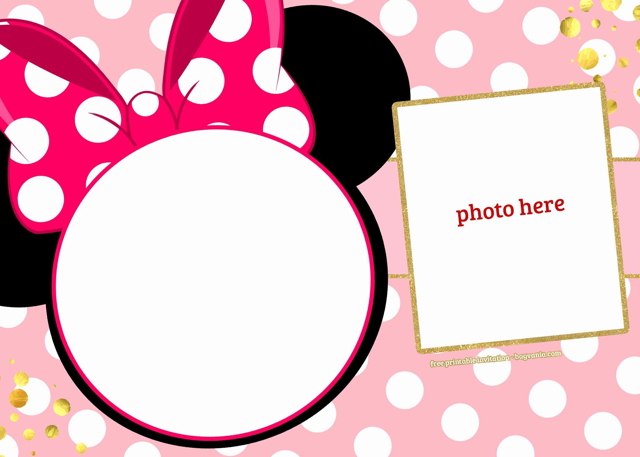 Editable Minnie Mouse Birthday Invitations Elegant Free Printable Minnie Mouse Pinky Birthday Invitation Template