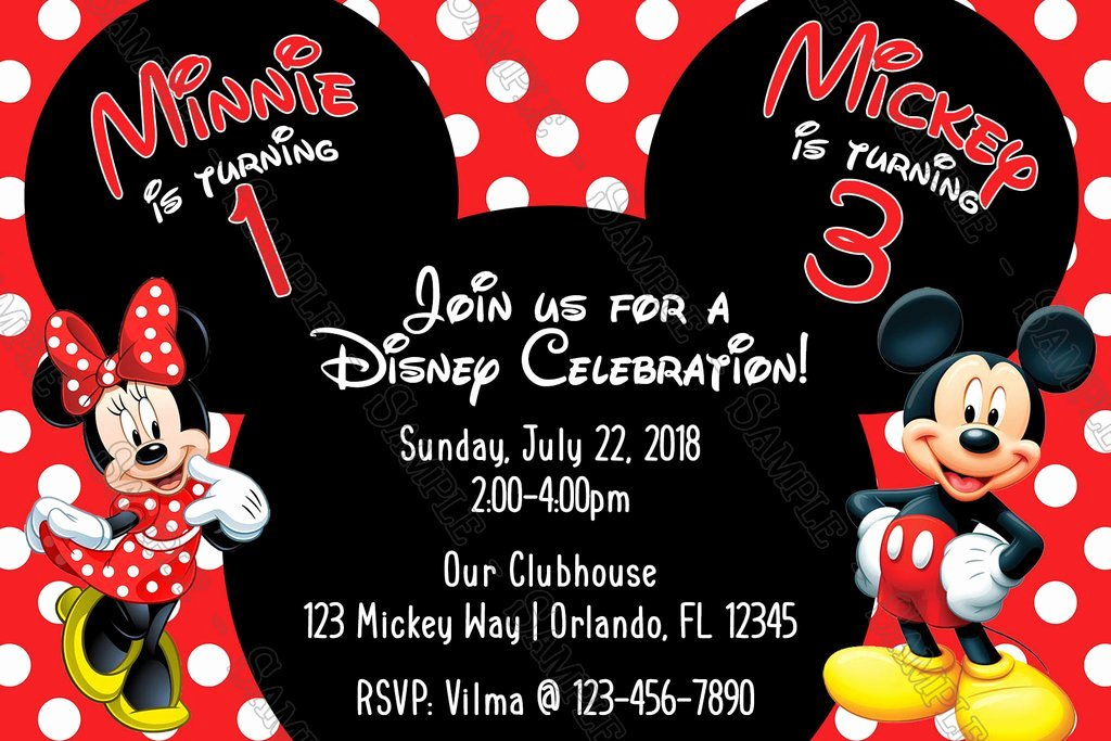 Editable Minnie Mouse Birthday Invitations Elegant Novel Concept Designs Mickey & Minnie Mouse Polka Dots Birthday Party Invitation