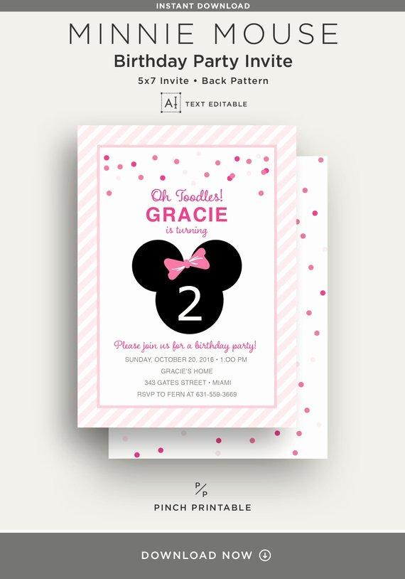Editable Minnie Mouse Birthday Invitations Elegant Text Editable Minnie Mouse Birthday Invite Party Invitation Kids Birthday Party Invitation