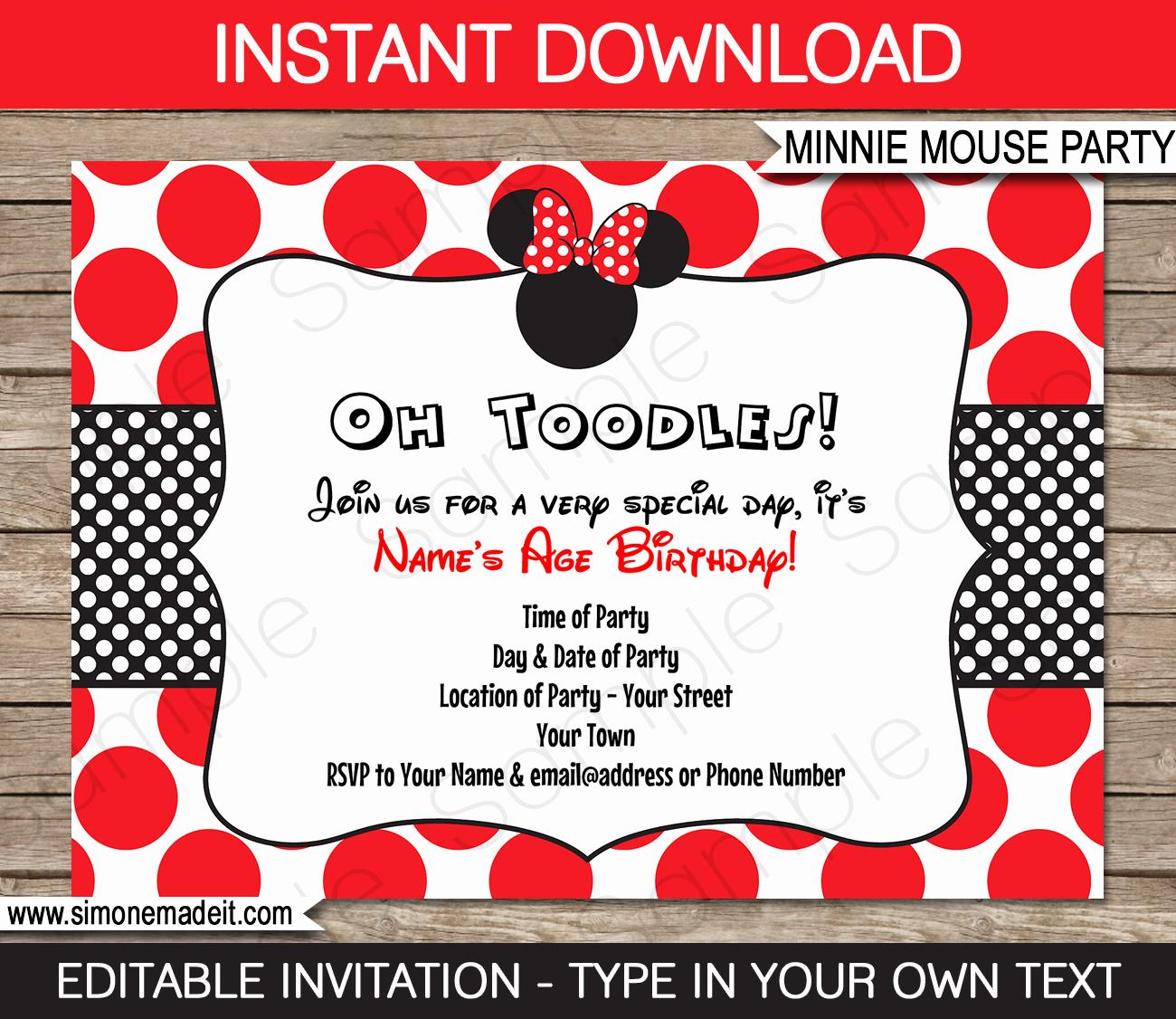 Editable Minnie Mouse Birthday Invitations Fresh Minnie Mouse Birthday Party Invitations Template