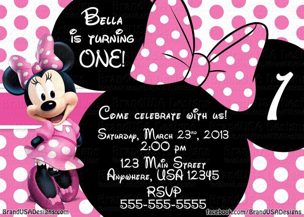 Editable Minnie Mouse Birthday Invitations Fresh Minnie Mouse Pink Birthday Invitations