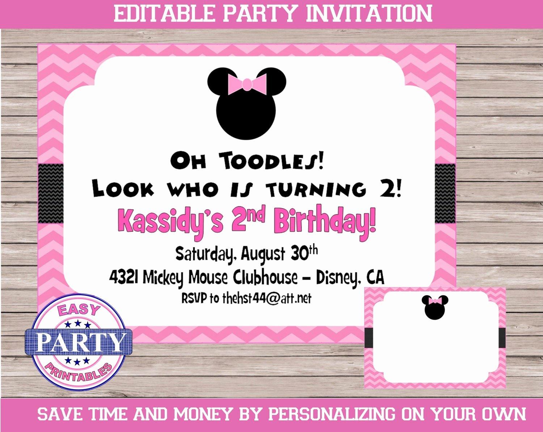 Editable Minnie Mouse Birthday Invitations Inspirational Minnie Mouse Editable Invitation Pink with Chevron Minnie