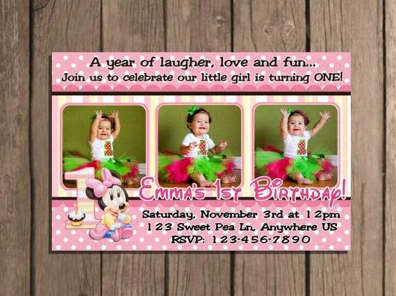 Editable Minnie Mouse Birthday Invitations Luxury Minnie Mouse Editable 1st Birthday Invitation