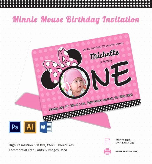 Editable Minnie Mouse Birthday Invitations New Awesome Minnie Mouse Invitation Template 27 Free Psd Vector Eps Ai format Download