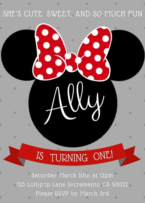 Editable Minnie Mouse Birthday Invitations Unique Minnie Mouse Invitation Editable Birthday Invitation Template Red Minnie Mickey Mouse