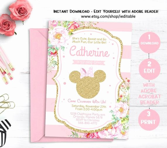 sale pink gold glitter minnie mouse