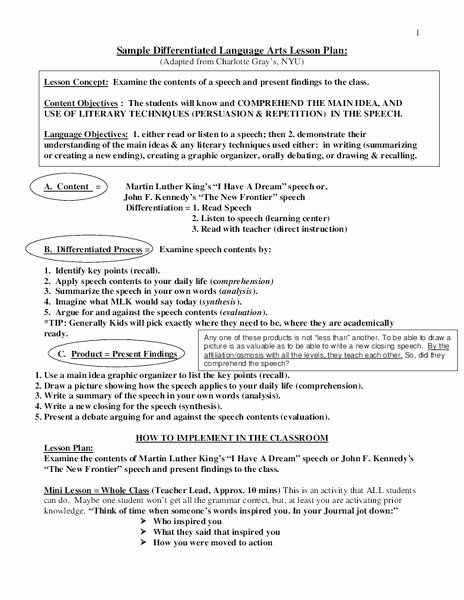 Ela Lesson Plan Template Awesome Sample Differentiated Language Arts Lesson Plan for 5th 8th Grade