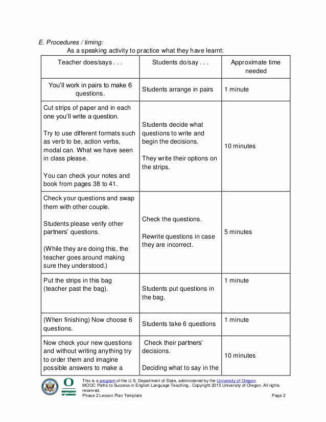 Ela Lesson Plan Template New Phase 2 Lesson Plan Template Paths to Success In English Language Tea…