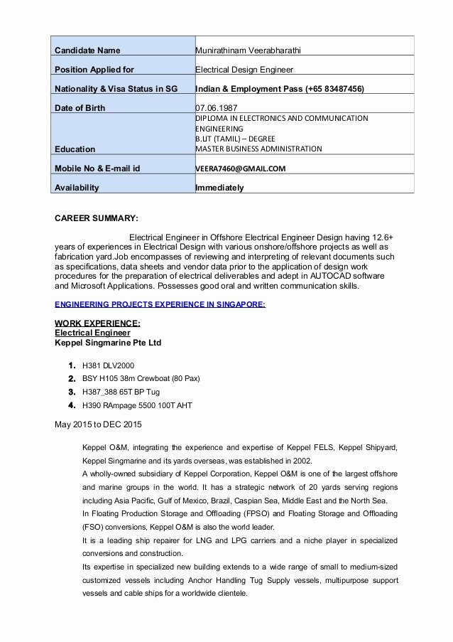 Electrical Engineer Resume Sample Awesome Electrical Design Engineer Resume