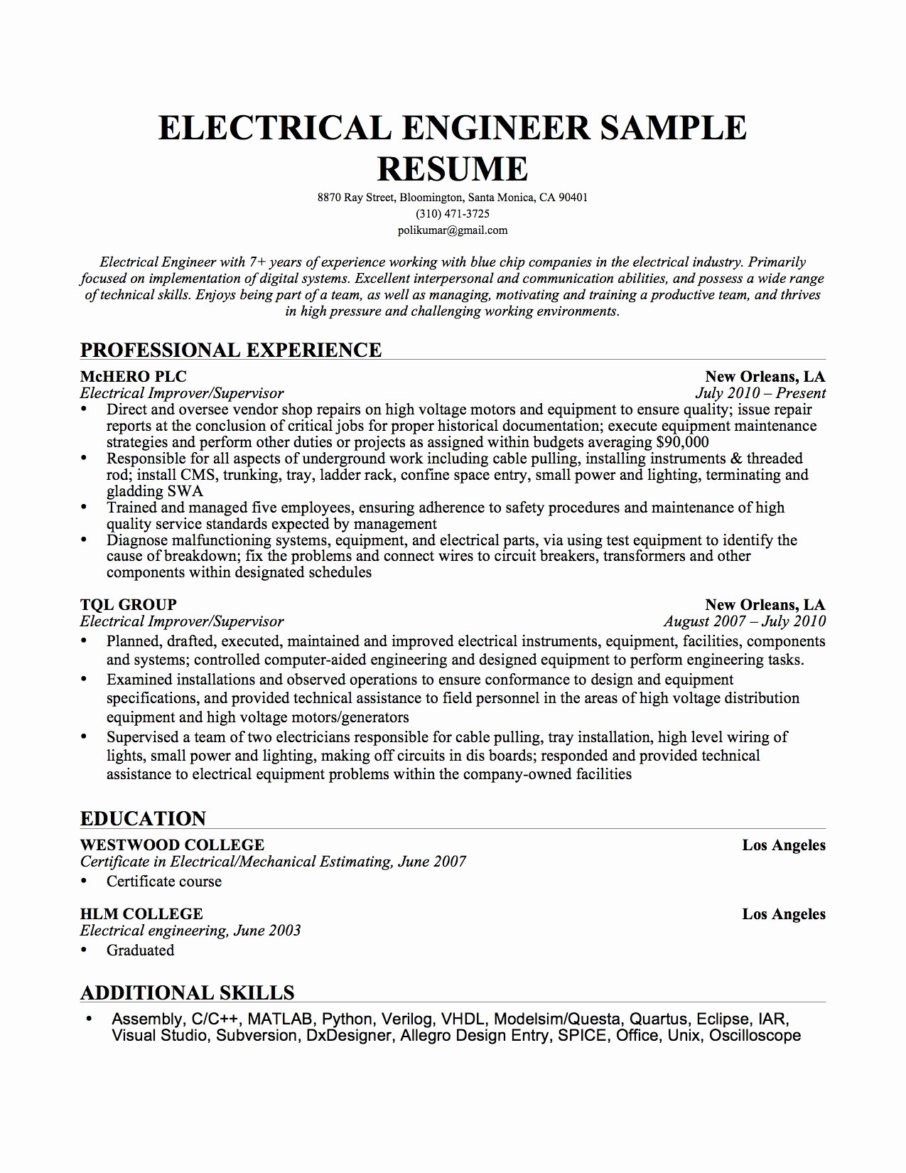 Electrical Engineer Resume Sample Awesome Resume format Resume format Download Electrical Engineering