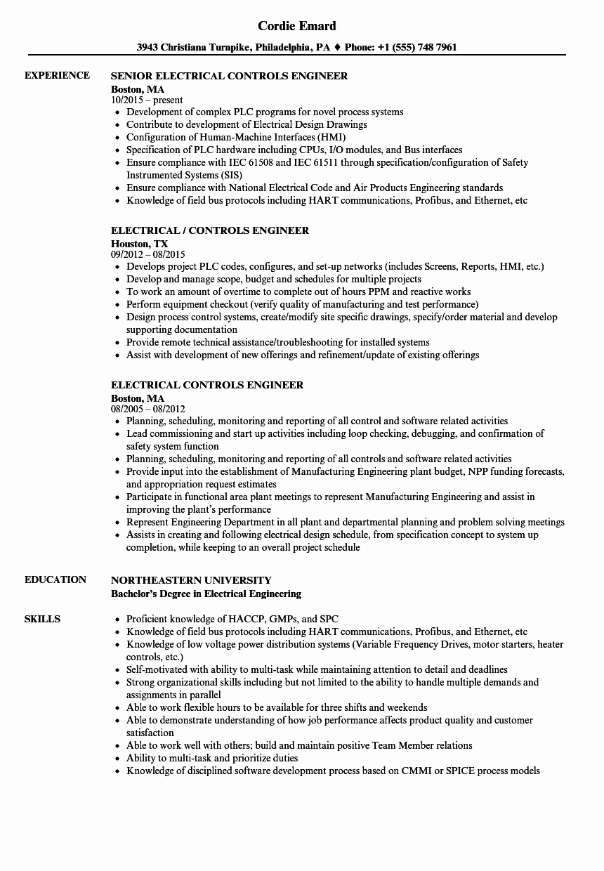Electrical Engineer Resume Sample Beautiful Electrical Controls Engineer Resume Samples