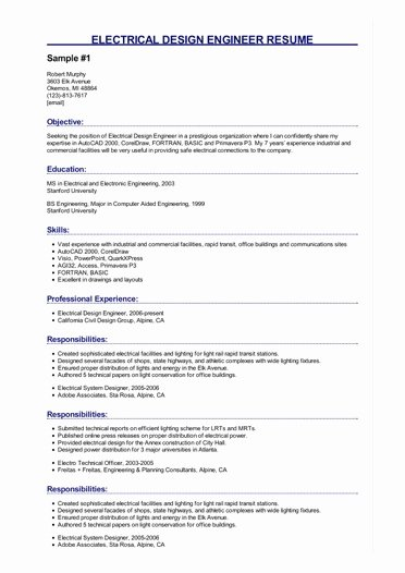 Electrical Engineer Resume Sample Best Of 2 Electrical Design Engineer Resume Samples