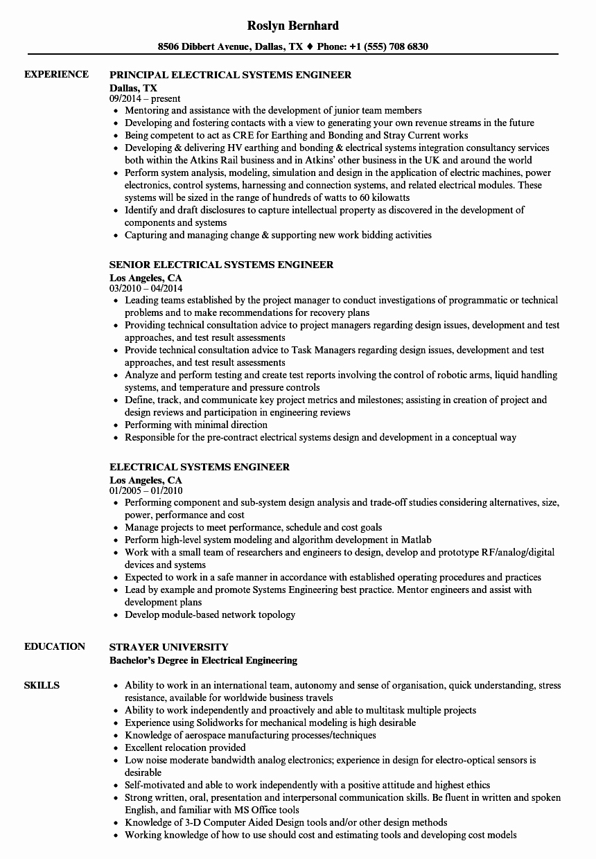 Electrical Engineer Resume Sample Best Of Electrical Systems Engineer Resume Samples