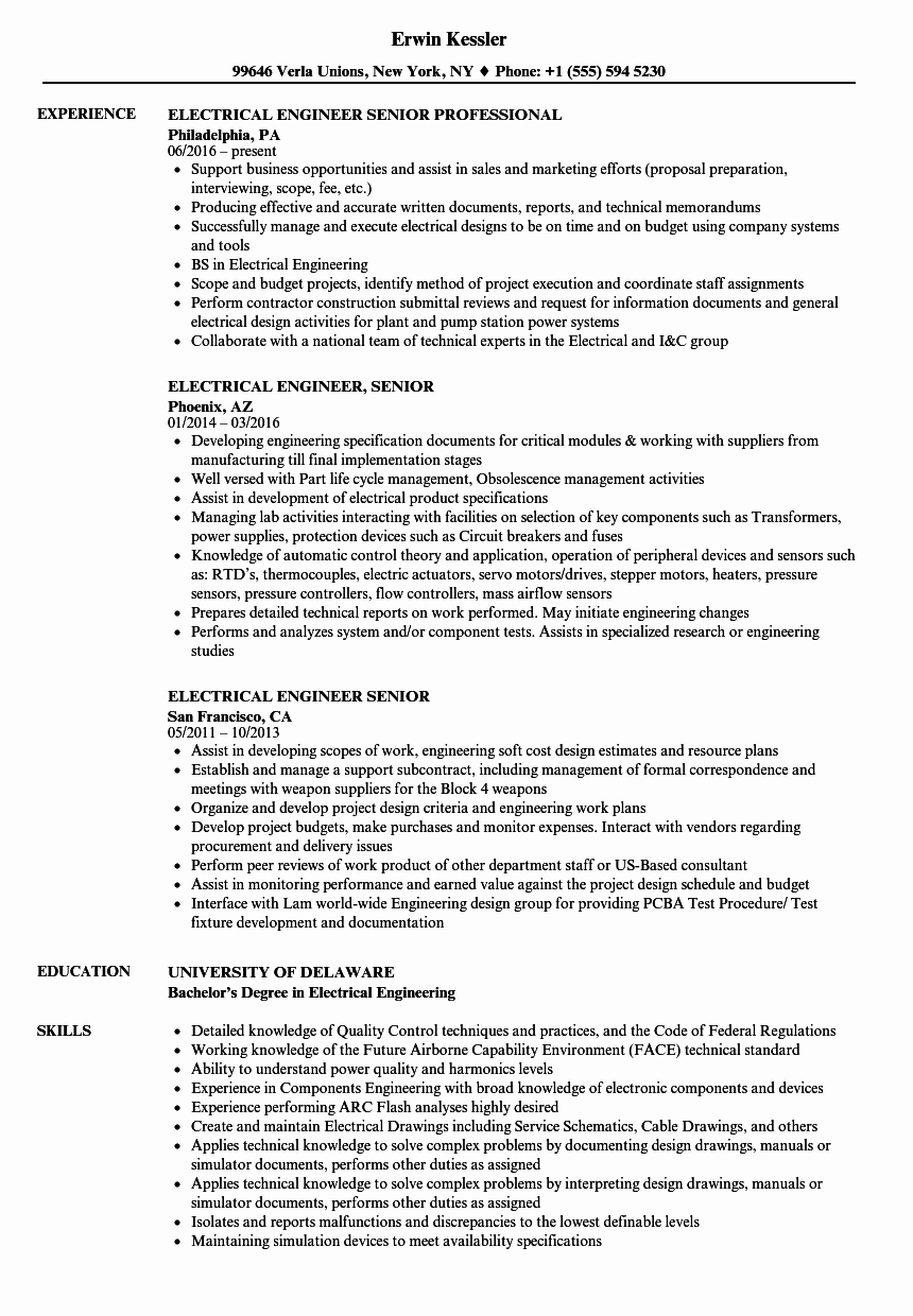 Electrical Engineer Resume Sample Elegant Electrical Engineer Senior Resume Samples