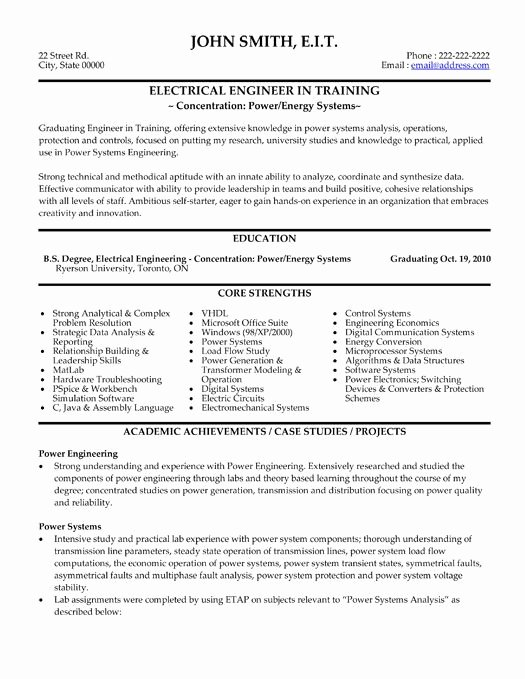 Electrical Engineer Resume Sample Fresh 10 Best Best Electrical Engineer Resume Templates