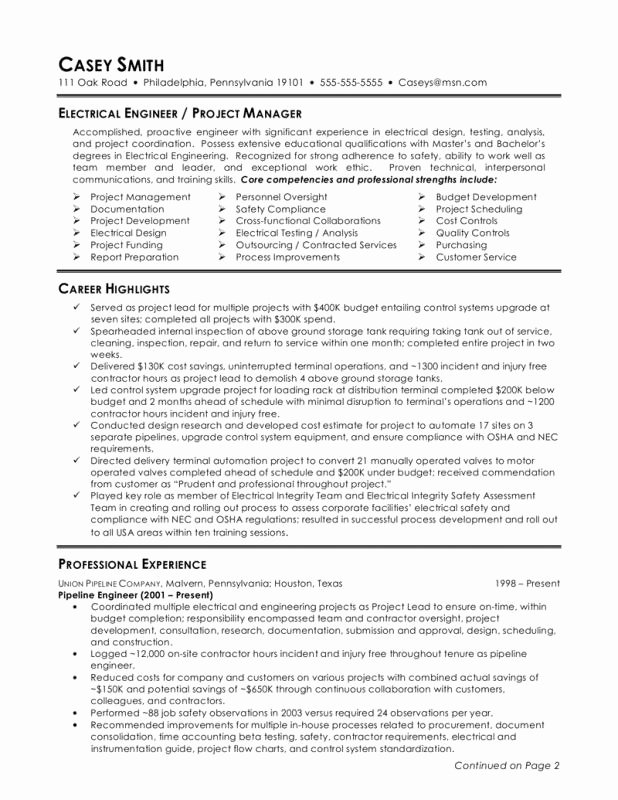 Electrical Engineer Resume Sample Inspirational Electrical Engineer Resume