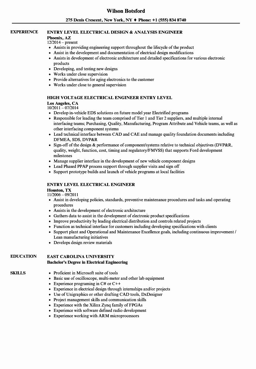 Electrical Engineer Resume Sample Inspirational Entry Level Electrical Engineer Resume Samples