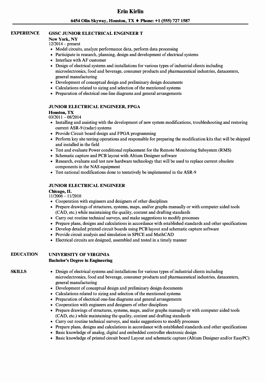 Electrical Engineer Resume Sample Inspirational Junior Electrical Engineer Resume Samples