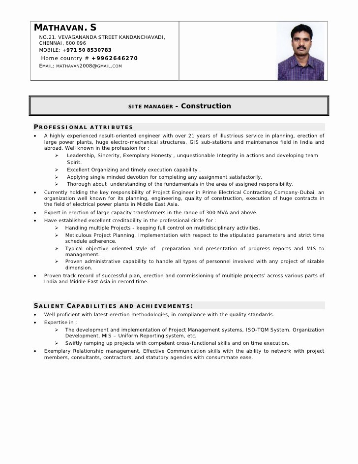 sample resume electrical engineer india