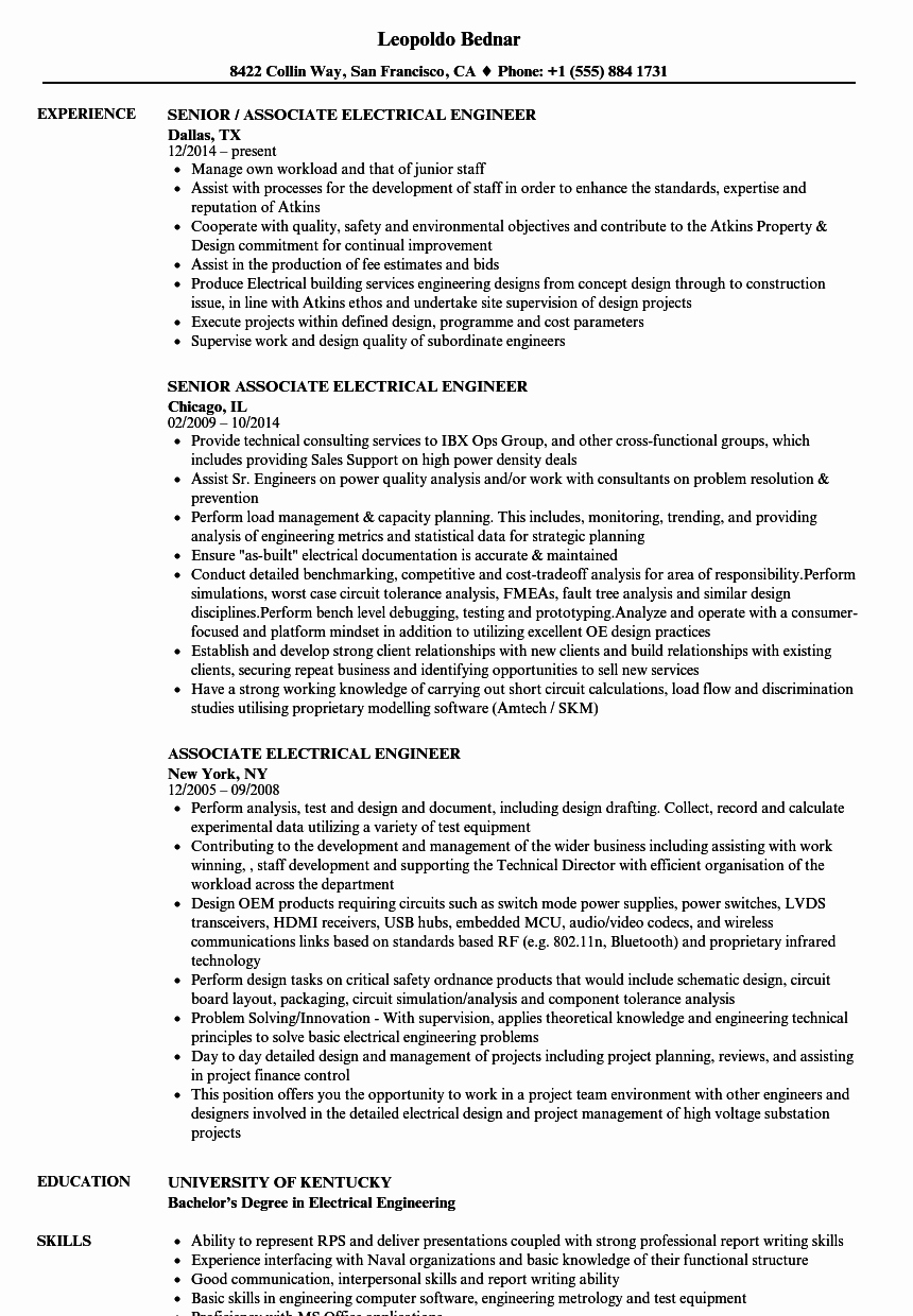 Electrical Engineer Resume Sample Lovely associate Electrical Engineer Resume Samples