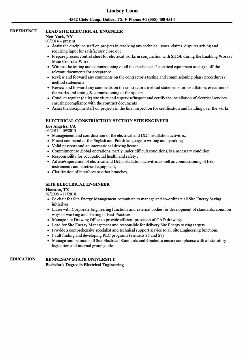 Electrical Engineer Resume Sample Lovely Electrical Site Engineer Resume Samples